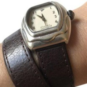 T1896 Retired Silpada Brown Leather wrap watch